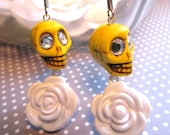 BRIGHT EYES- Bright Yellow and White Floral Sugar Skull Charm Earrings