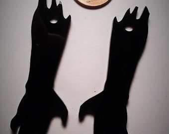 2-BLACK ZOMBIE ARM Charms-In Laser Cut Acrylic