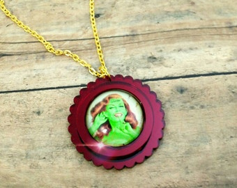 SASSY ZOMBIE- 25mm Red Mirror Scalloped Cameo Glass Cabochon Halloween Pin Up Zombie Laser Cut Acrylic Pendant Necklace