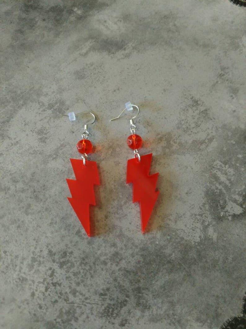 LARGE Red Flash Lightening Bolt earrings