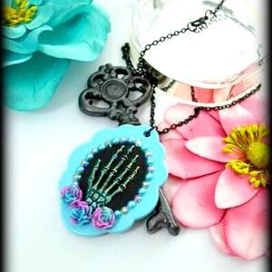30 x 40 mm Aqua Blue Dis De Los Muertos Floral Bow Cameo Necklace FLORAL SENORITA CAMEO