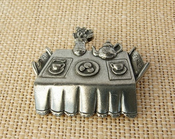 Tea Party Silver Pin, Danforth Pewters, Tea Party Jewelry, Brooch, Kitchen,  Dining, Vintage Pewter From Vermont. Gift For Her, Tea Time