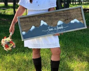 Mountain Wedding Guest Book Alternative-  Mountain Wall Art - Wedding Guestbook - Rustic Wood Wedding Sign