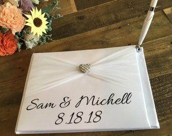 Wedding Guestbook - Personalized Wedding Guest Book - Elegant White HardBound Wedding Sign In Book -Traditional Guestbook - Wedding Book