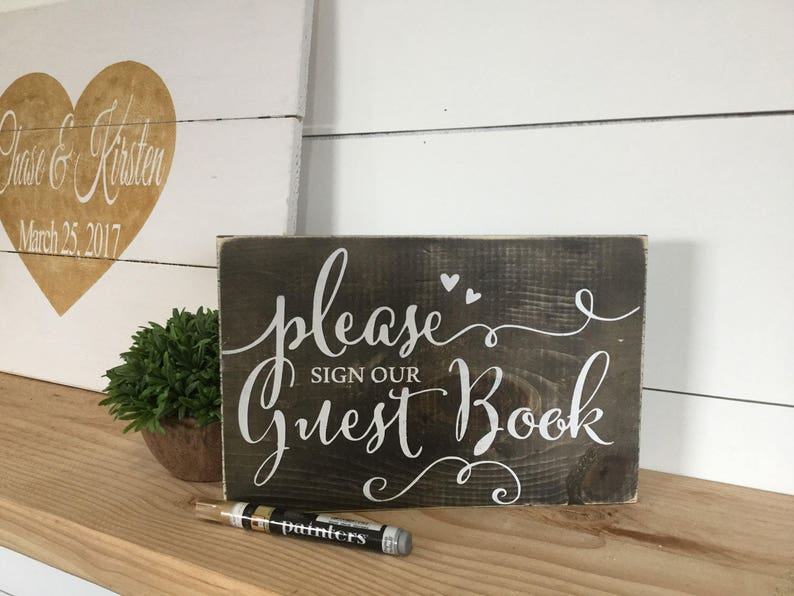 Please Sign Our Guestbook  Wood Wedding Sign  Guestbook Sign image 0