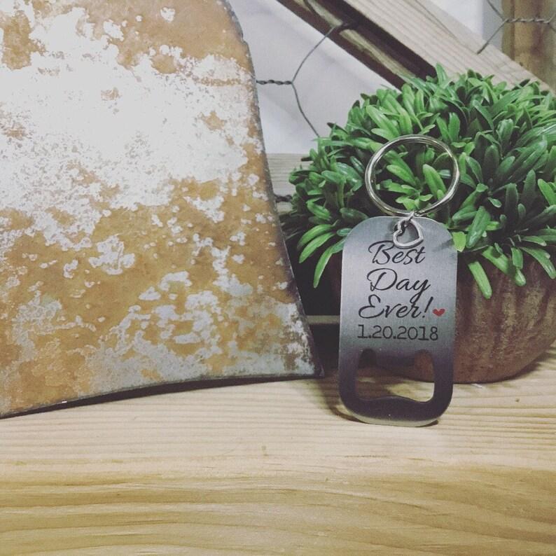 Custom Bottle Opener  Groomsmen Gift Keychain   Wedding image 0