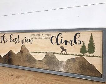 Wood Mountain Wall Art Decor- Rustic Themed Mountain Nursery  - Mountain Gift - Rustic Adventure Decor - Boys Room Decor - Housewarming Gift