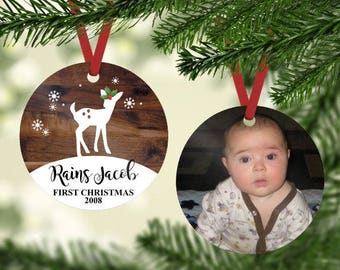 Baby Christmas Ornament - First Christmas Ornament ~ Photo Ornament - 1st Christmas Ornament - Personalized Ornament - Gifts under 20