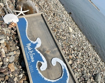 Beach Wedding Guest Book Alternative - Destination Wedding - Beach Wall Art - Nautical Guestbook - Rustic Wood Beach Signs