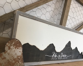 Wedding Guest Book Alternative-  Mountain Wall Art -  Mountain Themed Wedding Guestbook - Rustic Wood Wedding Sign