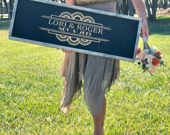 Wedding GuestBook - Art Deco Wedding Guest Book - Gold Wedding Sign - Great Gatsby Theme Wedding - Art Deco Sign