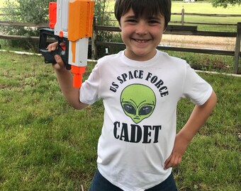 Space Force Shirt - Funny Kids T-Shirt - Cadet Shirt - Alien Shirt - UFO Shirt - United States Armed Forces - Youth Short Sleeve T-Shirt