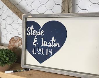 Rustic Wedding Guest Book  - Wedding Guest Book - Rustic Wood Wedding Sign - Custom Wood Guestbook - Personalized Wedding Book - Navy Theme