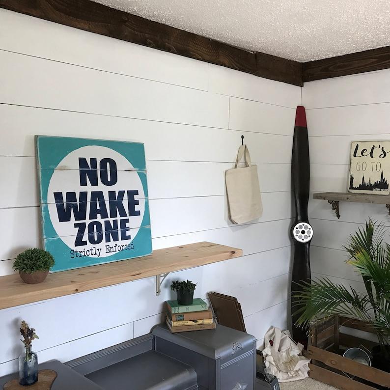 Nautical No Wake Zone Sign  Large Rustic Beach House Decor image 0