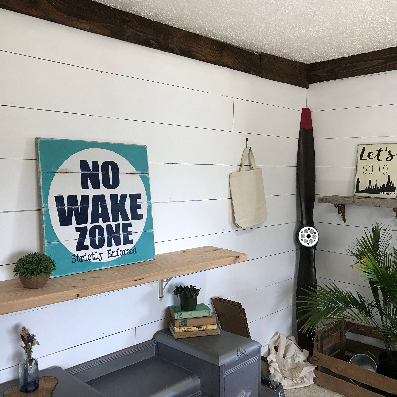 Nautical No Wake Zone Sign Rustic Beach House Decor