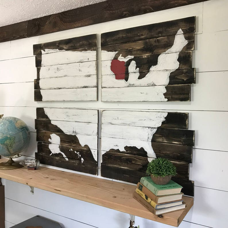 Rustic Home Decor Map Of United States USA