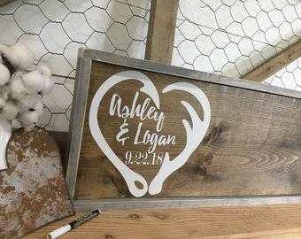 Hook and Antler Wood Guest Book Alternative - Fish Hook and Antler Heart Wedding Sign - Custom Wedding Guestbook - Deer Horn Rustic Sign