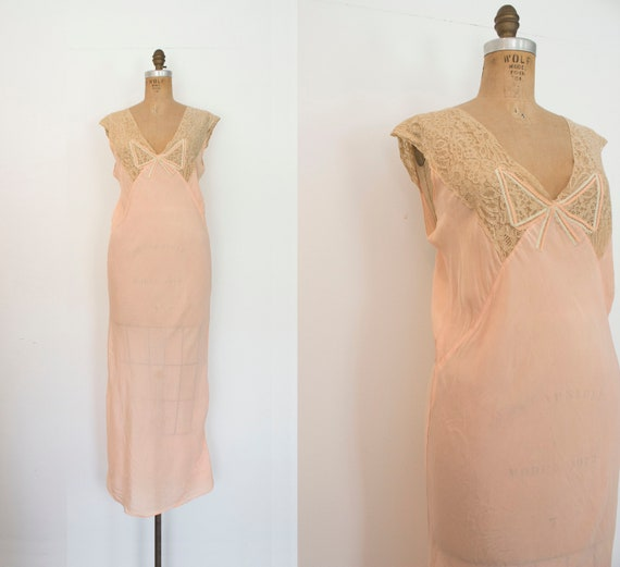 1930s Secret Boudoir silk art deco slip / 30s lace