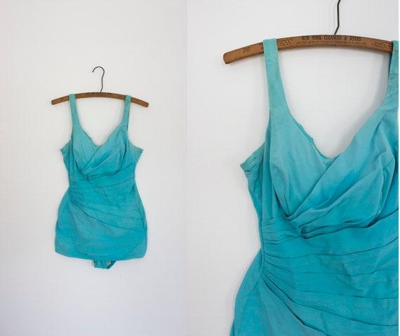 1950s Mediterranean Sea sweetheart aqua swimsuit /