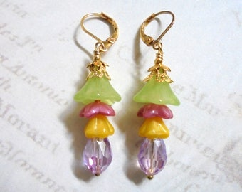 Green, Pink, Yellow and Lavender Flower Earrings (3481)