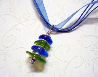 Blue and Green Glass Necklace (1346)