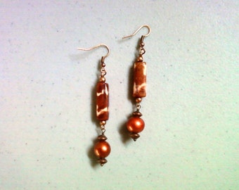Copper and Bone Ethnic Earrings (1315)