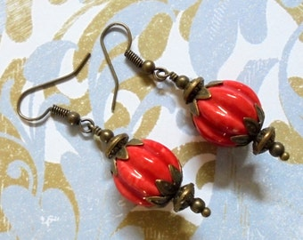 Red and Brass Earrings (2569)