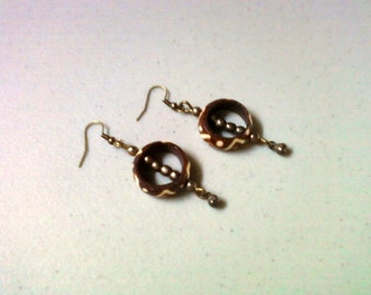 Brown and White Bone and Brass Earrings (1452)