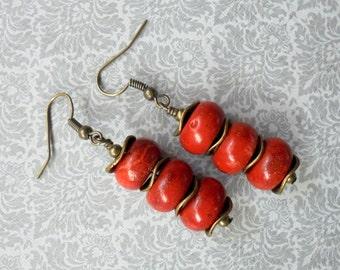Red Sponge Coral Earrings (3337)