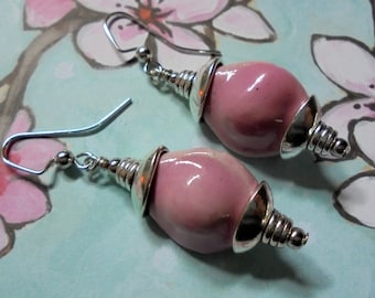 Pink and Silver Ceramic Boho Earrings (3278)