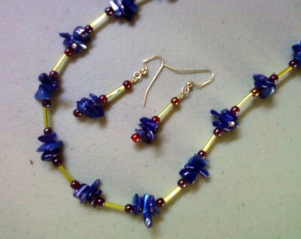Royal Blue, Cranberry and Lime Green STone Chip Necklace and Earrings (0397)
