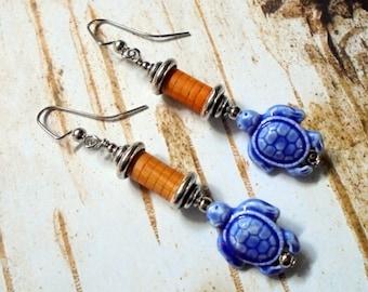 Orange and Blue Turtle Earrings (3082)