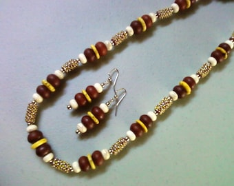 Ethnic Inspired Brown, Yellow and White Necklace and Earrings (0304)