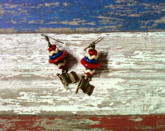 Red, White and Blue Patriotic Flag Earrings (2090)