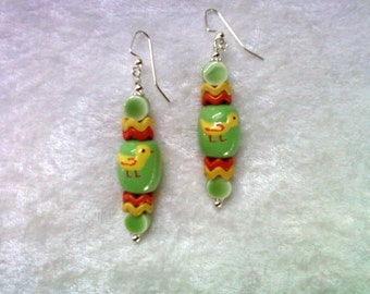 Green, Yellow and Orange Easter Duckling Earrings (1231)