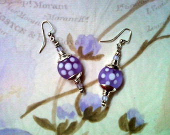 Frosted Lavender Earrings with White Polka Dots (1869)