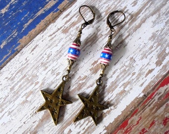 Rustic Red, White and Blue Patriotic Star Earrings (4549)