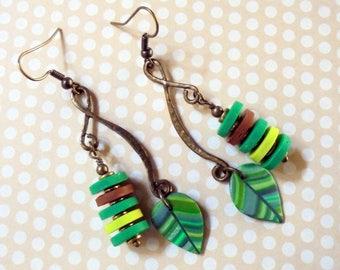 Green and Brown Boho Leaf Earrings (3705)