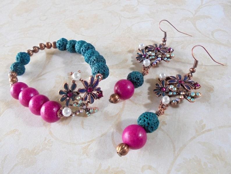 Dark Teal Blue 4898 Fuschia and Copper Flower Bracelet and Earrings
