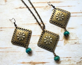 Aqua and Brass Flower Necklace and Earrings (3348)