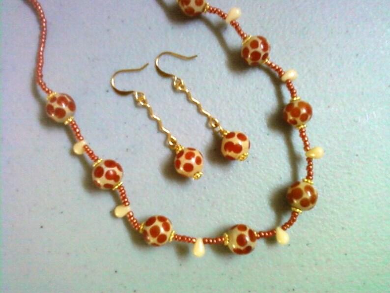 Animal Print Jewelry Giraffe Print Jewelry 0709 Burnt Orange and Dark Cream Polka Dot Necklace and Earring Set