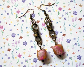 Mauve, Pink and Tan Spotted Earrings (2489)