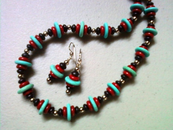 Black, Red, Turquoise and Silver Necklace and Earrings (0812)