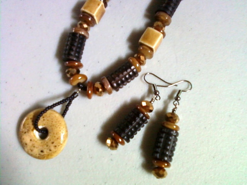Brown and Gold Ethnic Style Necklace and Earrings Black 0078