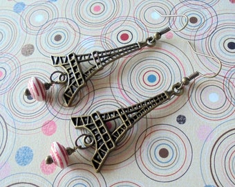 Red, White and Brass Eiffel Tower Earrings (4363)