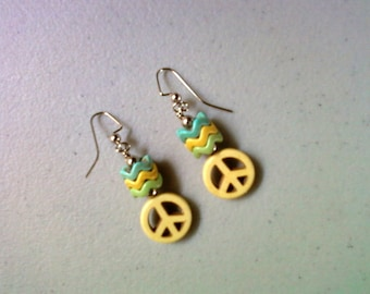 Pastel Yellow, Blue and Green Peace Earrings (1151)