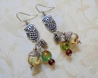 Owl, Acorn and Pinecone Earrings (4001)