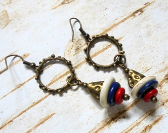 Red, White and Blue Patriotic Boho Earrings (2718)