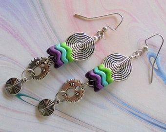 Purple, Turquoise and Green Steampunk Earrings (4374)
