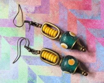 Aqua, Yellow and Brass Ethnic Earrings (2979)